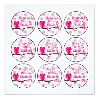 Pink Owl 2nd Birthday Cupcake Toppers Card