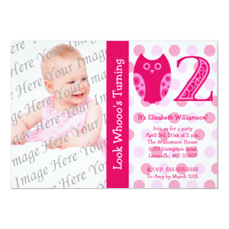 Pink Owl 2nd Birthday Party Photo Invitations