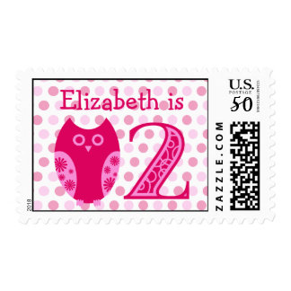 Pink Owl 2nd Birthday Personalized Postage