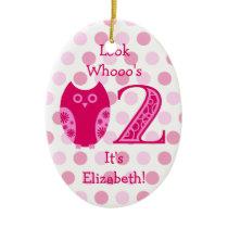 Pink Owl 2nd Birthday Photo Ornament