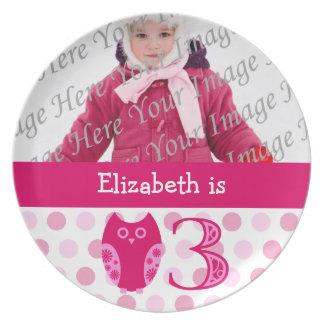 Pink Owl 3rd Birthday Photo Plate