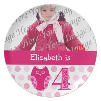 Pink Owl 4th Birthday Photo Plate