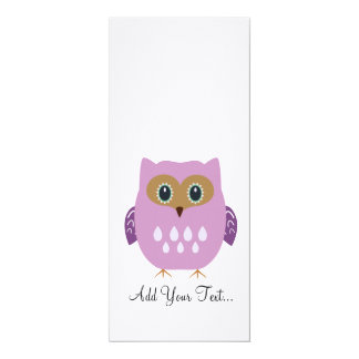 Pink owl 4x9.25 paper invitation card