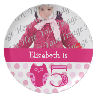 Pink Owl 5th Birthday Photo Plate