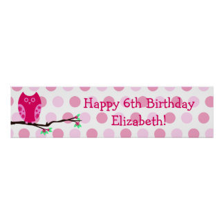 Pink Owl 6th Birthday Personalized Sign