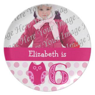 Pink Owl 6th Birthday Photo Plate