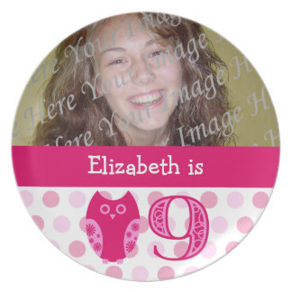 Pink Owl 9th Birthday Photo Plate