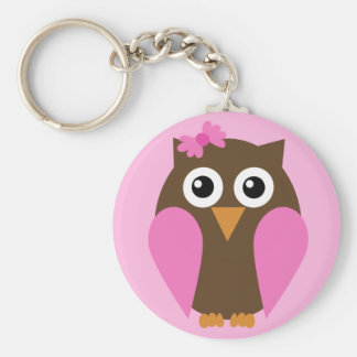 Pink Owl & A Bow Keychain