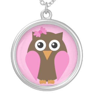 Pink Owl & A Bow Necklace