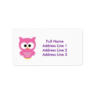 Pink owl address labels