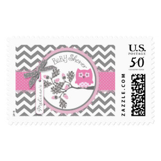 Pink Owl and Chevron Print Baby Shower Stamp