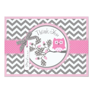 Pink Owl and Chevron Print Thank You Card