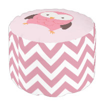 Pink Owl and Chevrons Pattern Pouf