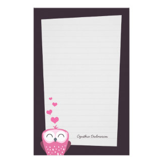 Pink Owl and Love Hearts Note Paper (lined) Personalized Stationery