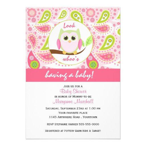 pink owl and paisley print baby shower invitation 5 x 7 invitatio