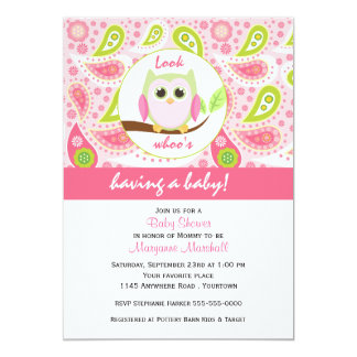 """Pink Owl and Paisley Print Baby Shower Invitation 5"""" X 7"""" Invitation Card"""