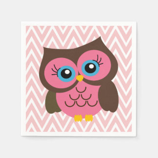Pink Owl and Pink Chevron Zigzag Napkins
