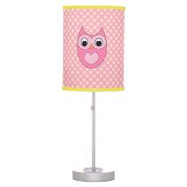 Pink Owl and Polkadot Pattern Lamp