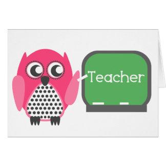 Pink Owl At Chalkboard Greeting Card