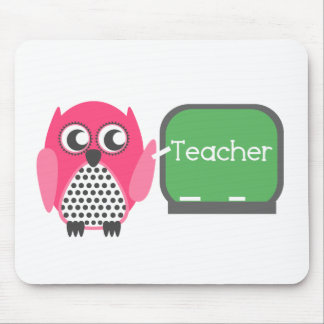 Pink Owl At Chalkboard Mouse Pad
