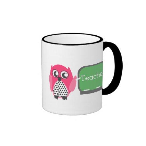 Pink Owl At Chalkboard Ringer Coffee Mug