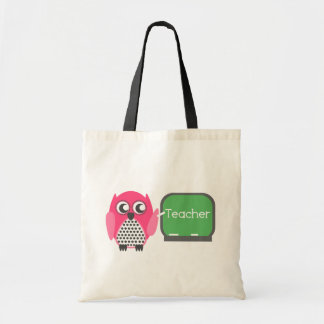 Pink Owl At Chalkboard Tote Bag