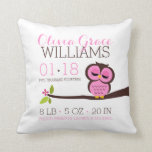 "Pink Owl Baby Birth Announcement Throw Pillow<br><div class=""desc"">Adorable baby announcement pillow is the perfect keepsake for the new parents and a beautiful piece of nursery decor.</div>"