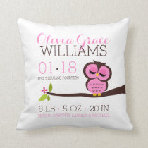 Pink Owl Baby Birth Announcement Throw Pillow
