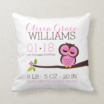 heartlocked Pink Owl Baby Birth Announcement Throw Pillow
