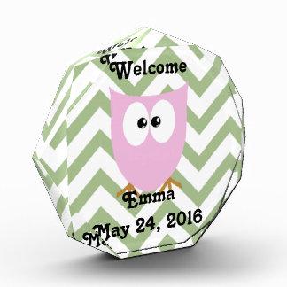 Pink Owl Baby Girl Acrylic Award