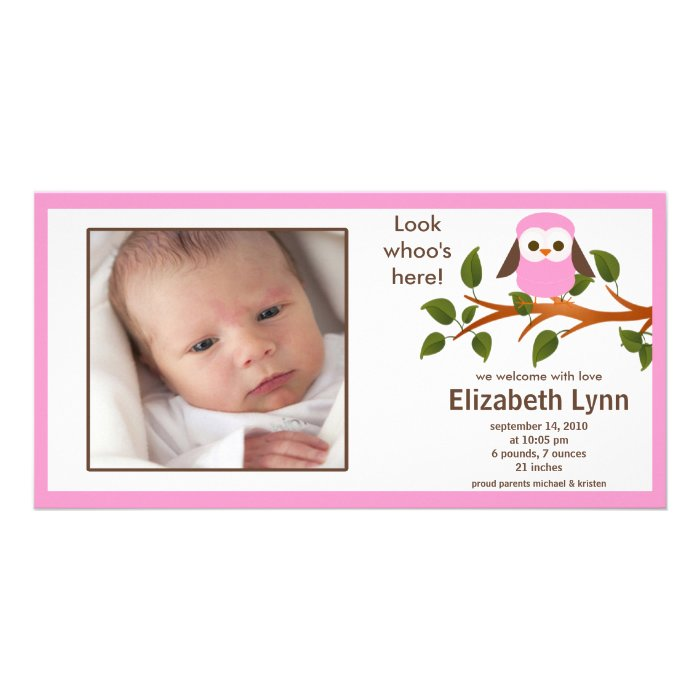 Pink Owl Baby Girl Birth Annoucement Card