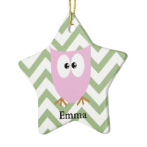 Pink Owl Baby Girl Ceramic Ornament