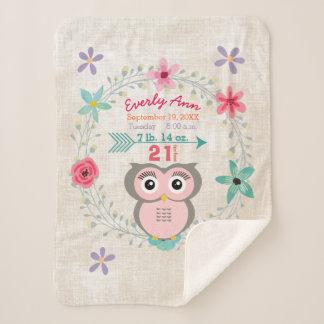 Pink Owl Baby Girl Stats Watercolor Wreath Sherpa Blanket
