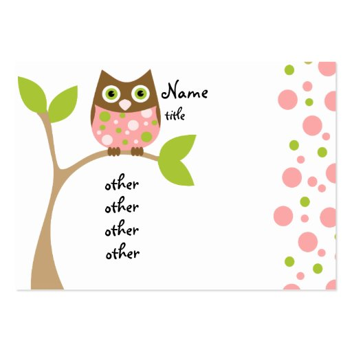Pink Owl Baby Large Business Cards (Pack Of 100)