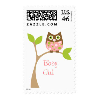 Pink Owl Baby Postage Stamp