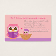 Pink Owl Baby Shower Book Insert Request Card at Zazzle