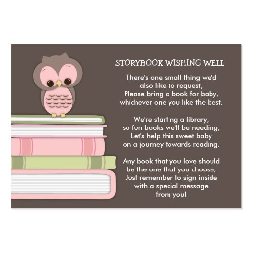Pink Owl Baby Shower Book Insert Request Card Business Cards