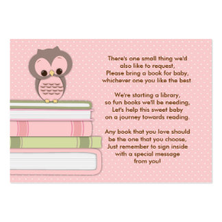 Pink Owl Baby Shower Book Insert Request Card Large Business Card