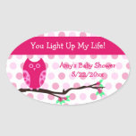 Pink Owl Baby Shower Candle Jar Favor Tags Sticker