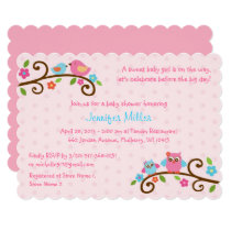 Pink Owl Baby Shower Card