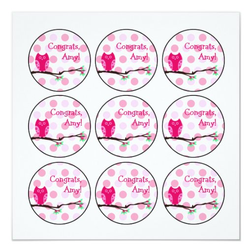 """Pink Owl Baby Shower Cupcake Toppers or Favor Tags 5.25"""" Square Invitation Card"""