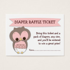 Pink Owl Baby Shower Diaper Raffle Ticket Insert at Zazzle