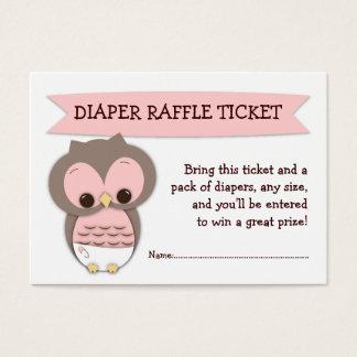 Pink Owl Baby Shower Diaper Raffle Ticket Insert