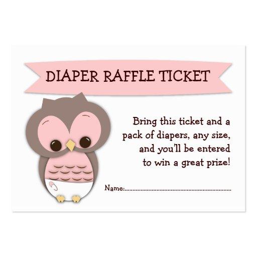 owl baby shower diaper raffle ticket insert business card template