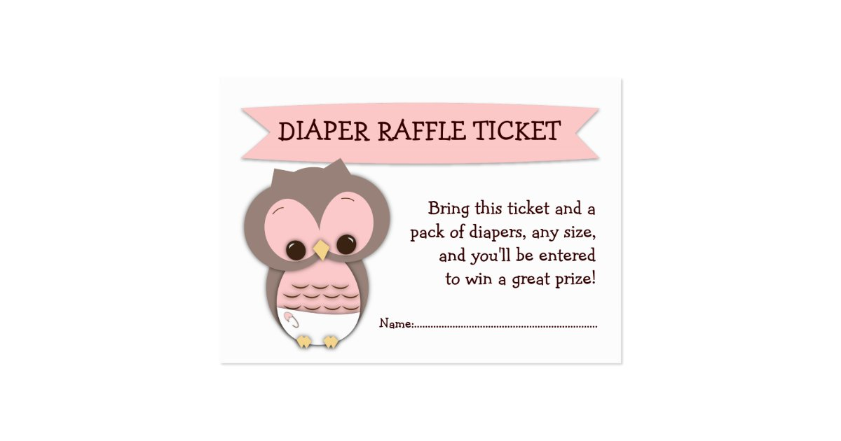 Pink Owl Baby Shower Diaper Raffle Ticket Insert Large ...