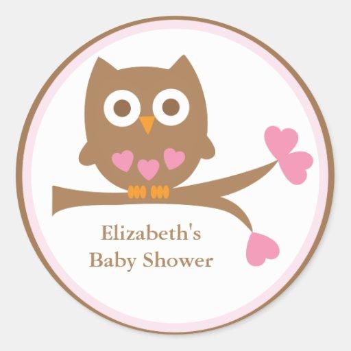 Pink Owl Baby Shower Envelope Seals Round Sticker