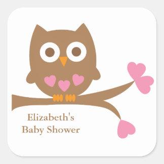 Pink Owl Baby Shower Envelope Seals Square Sticker