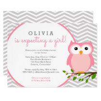 Pink Owl Baby Shower, Grey Chevron Card