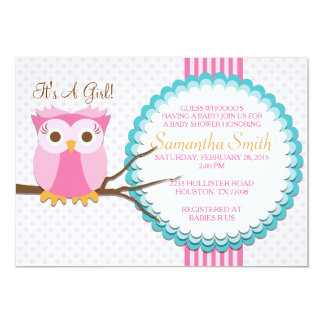 "Pink Owl Baby Shower Invitation 5"" X 7"" Invitation Card"
