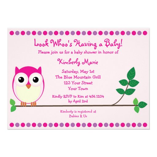 pink owl baby shower invitation 5 x 7 invitation card zazzle